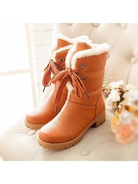 Pu Square Heel Lace Up Booties