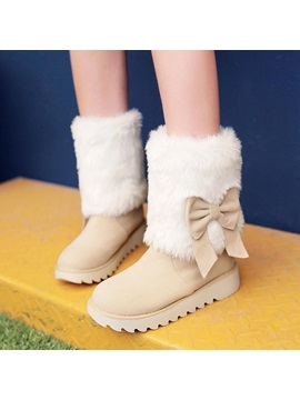 Faux Fur Bowknot Slip On Snow Boots