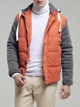 Thicken Lace Up Color Block Mens Hood Parka