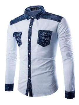 Denim Patchwork Pockets Mens Cotton Shirt