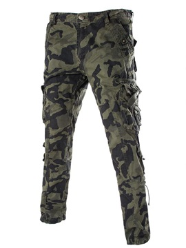 Camouflage Leg Pockets Button Placket Mens Casual Pants