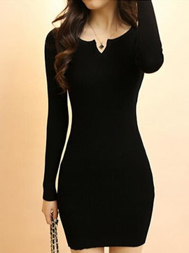 Solid Long Sleeve Slim Sweater Dress