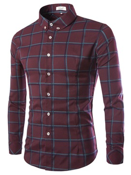 Mens Slim Fit Middle Plaid Long Sleeve Shirts