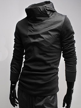 Mens Solid Color Poly Turtle Neck Hoodies