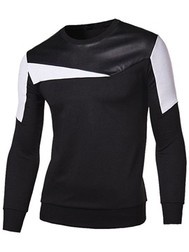 Mens Shoulder Pu Sleeve Contrast Pullover Hoodies