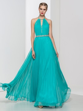 Backless Halter Pleats Beading Long Evening Dress