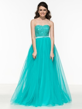 Fancy Sweetheart Beading A Line Tulle Prom Dress