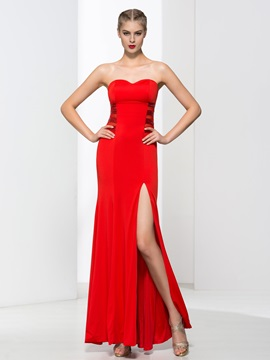 Empire Waist Sheath Sequins Red Evening Dress