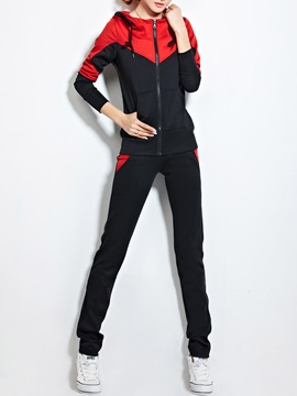 Stylish Color Block Hooded Top Straight Leg Casual Pant