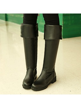 Pu Round Toe Knee High Boots