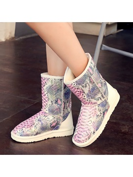 Snakeskin Pattern Slip On Snow Boots