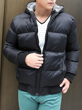 Mens Short Pattern Solid Color Hood Cotton Blend Parka