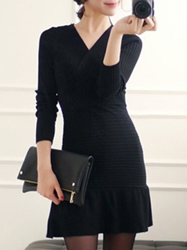 Solid Color V Neck Long Sleeve Sweater Dress