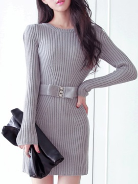 Plain Round Neck Long Sleeve Sweater Dress