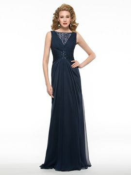 Sequined Bateau Neck Ruched Chiffon Long Mother Of The Bride Dress
