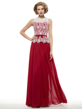 Floor Length A Line Burgundy Chiffon Mother Of The Bride Dress