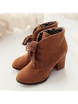 Suede Lace Up Front Booties