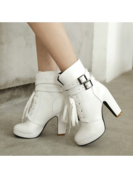 Buckles Chunky Heel Lace Up Booties