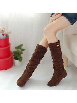Suede Slip On Knee High Boots
