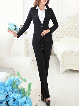 Pure Color One Button Blazer Skinny Leg Pant