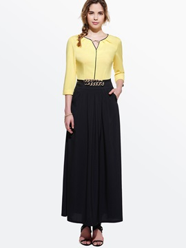 Contrast Color 3 4 Sleeve Maxi Dress
