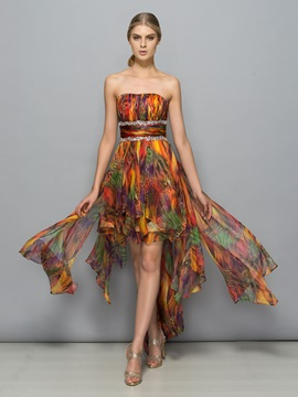 Modern Strapless Beading High Low Print Cocktail Dress