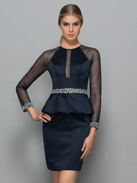 Sexy Sheer Back Beading Long Sleeve Sheath Formal Dress