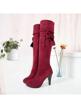 Bowknots Suede Slip On Thigh High Boots
