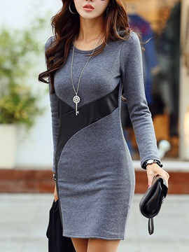 Patchwork Long Sleeve Soft Day Dress