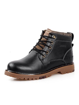 Round Toe Lace Up Plain Work Boots