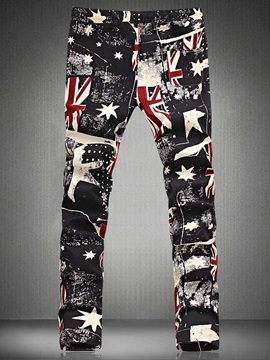 Mens General Flag Pattern Printed Large Size Casual Mens Pants