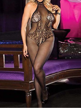 Beautiful See Through Floral Black Body Stocking