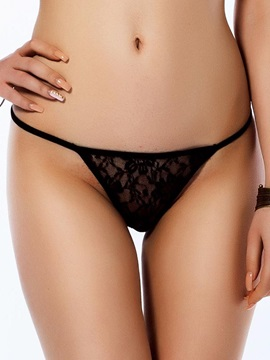 See Through Floral Black Solid Women Thong