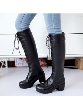 Solid Color Lace Up Knee High Martin Boots