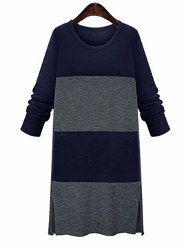 Contrast Color Sleeve Split Sweater Dress
