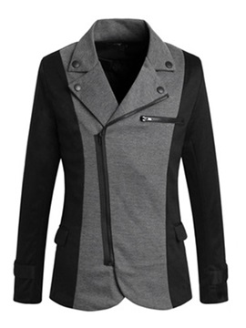 Golilla Nail Decorated Oblique Zipper Mens Color Block Roma Rib Blazer