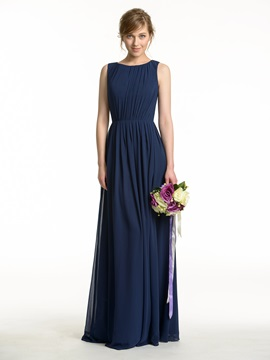 Cheap Ruched Scoop Neck Open Back Bridesmaid Dress