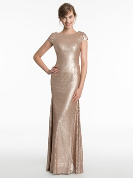 Short Sleeves Sequins Sheath Backless Bridesmaid Dress