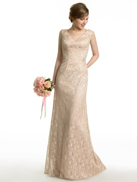 Sheath Long V Neck Lace Bridesmaid Dress