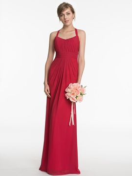 Halter Backless Long Bridesmaid Dress