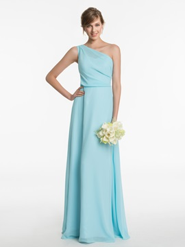One Shoulder A Line Long Bridesmaid Dress