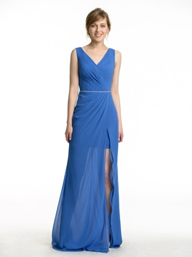 Pleated V Neck Split Front Chiffon Long Bridesmaid Dress