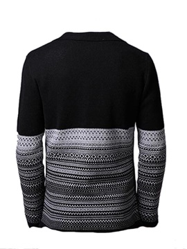 Mens Patchwork Notched Collar Cardigan Knit Wear