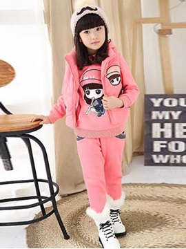 Cartoon Long Sleeve Hoodie 3 Piece Girls Suits
