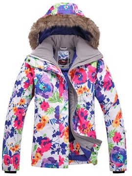 Floral Print Furry Design Hooded Women Ski Jacket