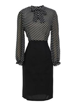 Patchwork Polka Dots Long Sleeve Day Dress
