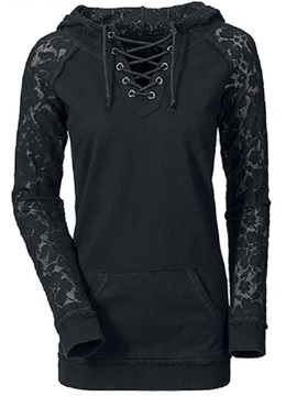 Stylish Lace Raglan Sleeves Hoodie