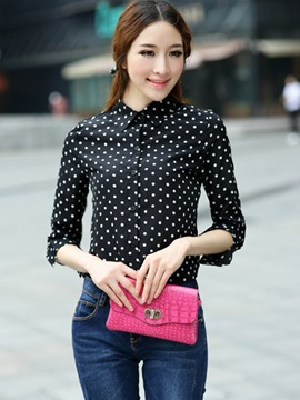 Chic Polka Dots Slim Work Shirt