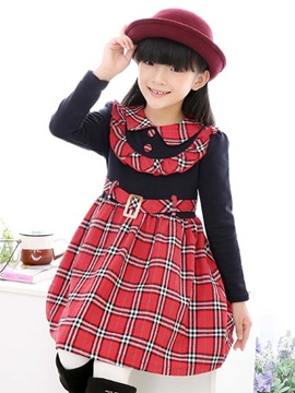 Plaid Belt Long Sleeve Doll Collar Girls Dress