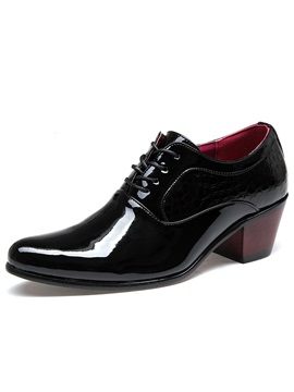 Pointed Toe Chunky Heel Mens Dress Shoes